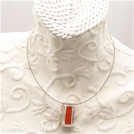 Collier ras de cou rectangle en Argent vitrail orange