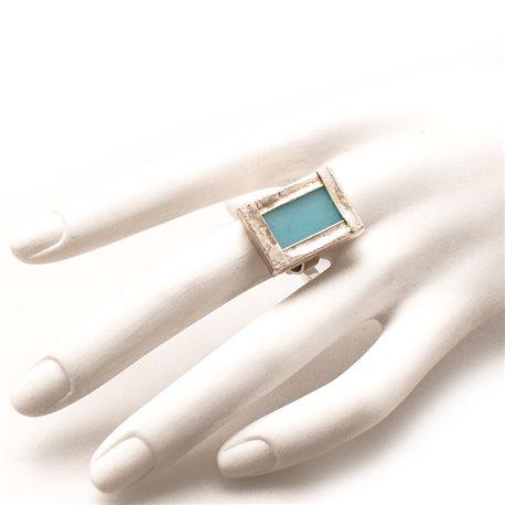Bague fantaisie créateur rectangle vitrail bleu réglable