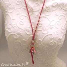 Sautoir fantaisie rose mazette coeur