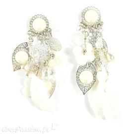 Boucles d'oreilles Patchwork blanc argent oreilles percées