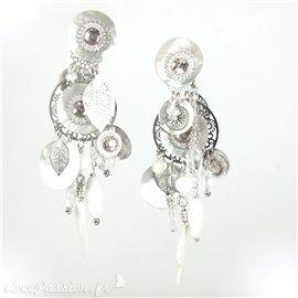 Boucles d'oreilles clips long blanc argent Patchwork