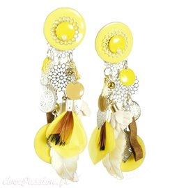Boucles d'oreilles clips jaune Patchwork