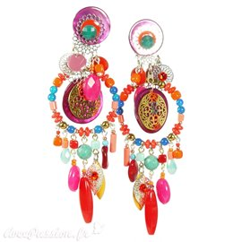 Boucles d'oreilles clips multicolore Patchwork