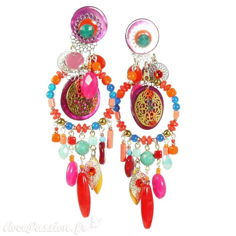 4da0b8b6408 Boucles d oreilles Patchwork clips multicolore