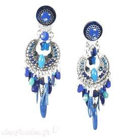 Boucles d'oreilles clips bleu Patchwork
