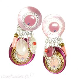 Boucles d'oreilles clips rose estampes Patchwork