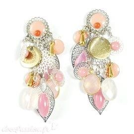 Boucles d'oreilles rose estampes argent Patchwork oreilles percées