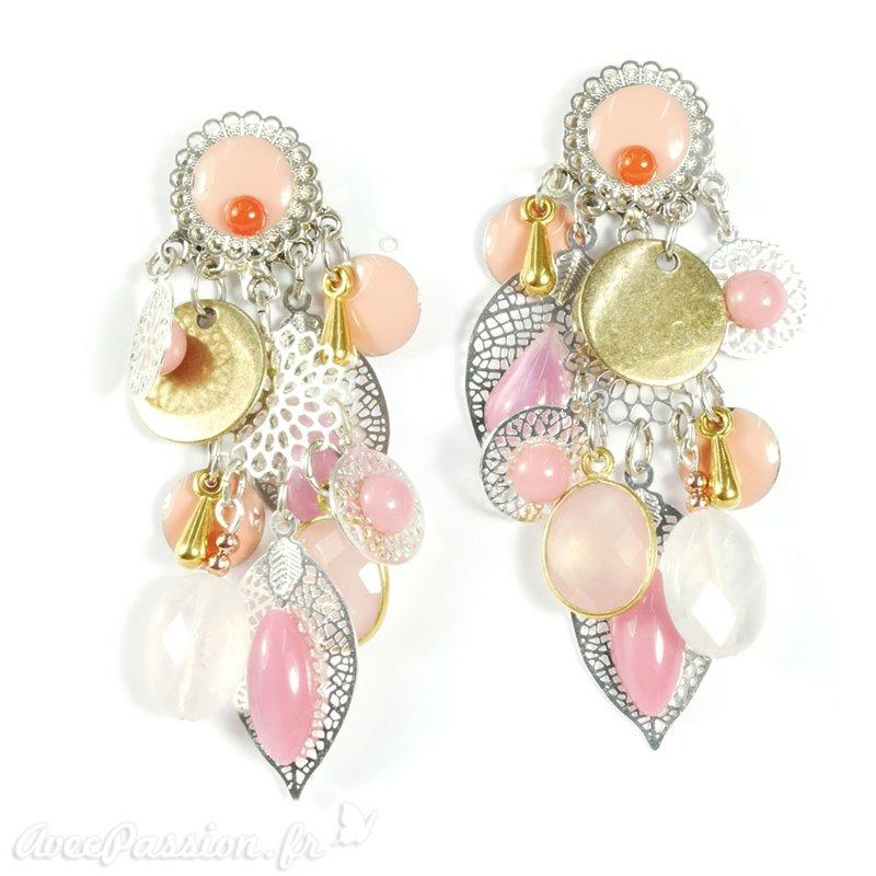 c5b06e0c897 Boucles d oreilles rose estampes argent Patchwork oreilles percées