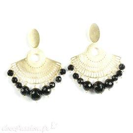 Boucles d'oreilles percées dorées éventail perles noires Eneida