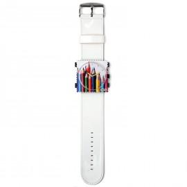 Montre Stamps bracelet de montre vernis blanc