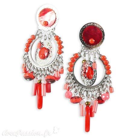 Boucles d'oreilles clips rouge corail Patchwork
