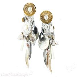 Boucles d'oreilles clips blanc nacré Patchwork