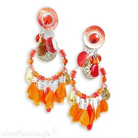 Boucles d'oreilles clips orange & rouge Patchwork