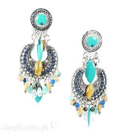 Boucles d'oreilles clips vert & bleu Patchwork