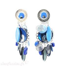 Boucles d'oreilles clips bleu estampes argent Patchwork