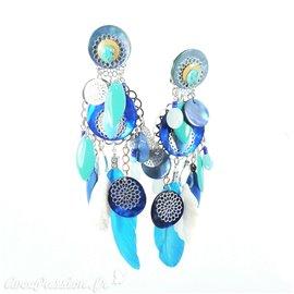 Boucles d'oreilles clips plume turquoise & perle bleu Patchwork