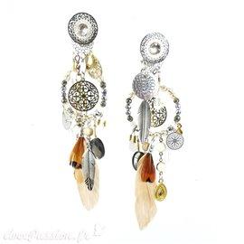 Boucles d'oreilles clips plume & perles Patchwork