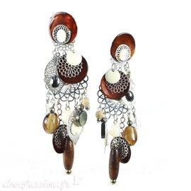 Boucles d'oreilles clips nacre & marron estampes argent Patchwork