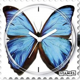 STAMPS Cadran de montre blue butterfly