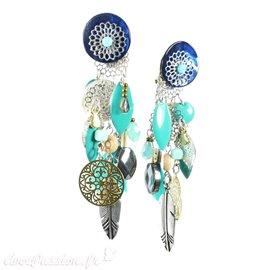 Boucles d'oreilles clips bleu & vert Patchwork