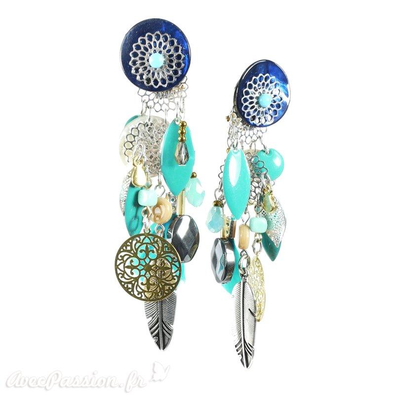 e06f70c7942 Boucles d oreilles Patchwork clips bleu et vert