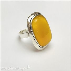 Bague Ubu rectangle argent & jaune