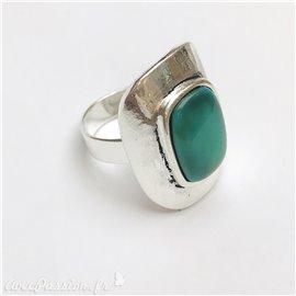 Bague Ubu rectangle perle argent & pierre turquoise