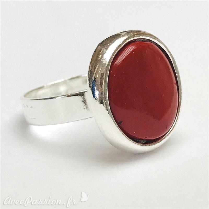 bijoux argent rond rouge