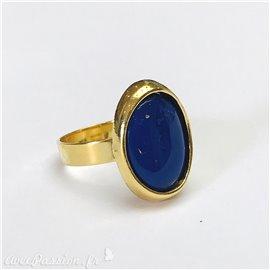 Bague Ubu ovale doré & bleu réglable