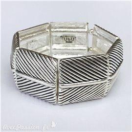 Bracelet fantaisie Ubu argent élastique papillons