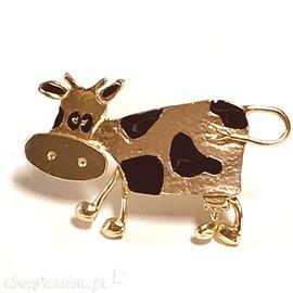 Broche Dolce Vita dorée vache
