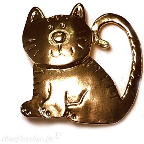 Broche Dolce Vita dorée gros chat