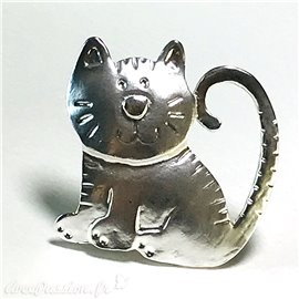 Broche Dolce Vita argent gros chat