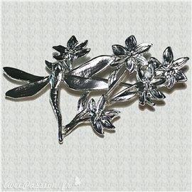Broche Dolce Vita argent fleurs et libellule