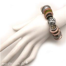 Bracelet fantaisie marron argent ethnique
