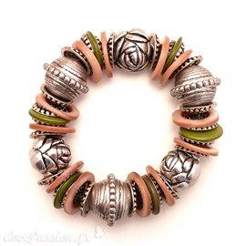 Bracelet fantaisie marron argent ethnique pour femme