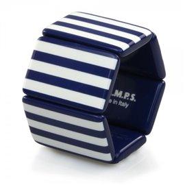 Bracelet de montre Stamps Belta Rayures Bleu & Blanc