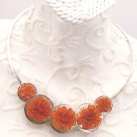 Torque Argent fleurs orange