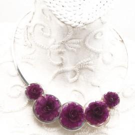 Torque Argent fleurs violette