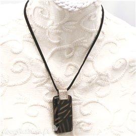 Collier fantaisie Murano médaillon noir or lien velours noir