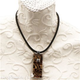 Collier fantaisie Murano marron et or