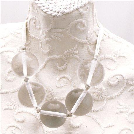 Collier fantaisie ruban gris boules transparentes
