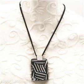 Collier fantaisie Murano médaillon noir et blanc
