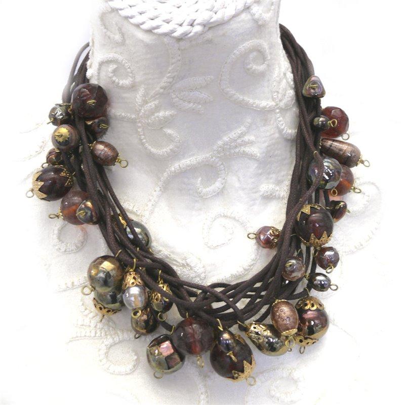 collier fantaisie femme marron