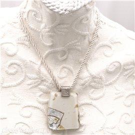 Collier fantaisie Murano médaillon Blanc argent or lien torsadé Blanc