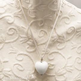 Collier fantaisie Murano coeur Blanc lien Blanc 50cm