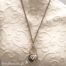 Sautoir fantaisie mazou lien velours gris pampille coeur