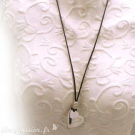 Sautoir fantaisie gris réglable coeur Argent