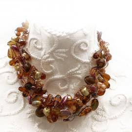 Collier ras de cou perle de verre marron ambre