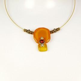 Collier lien cuir doré orange jaune en verre Nathalie Borderie